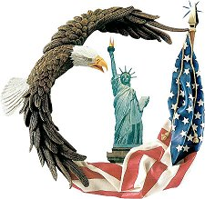 Lady Liberty with eagle and USA flag