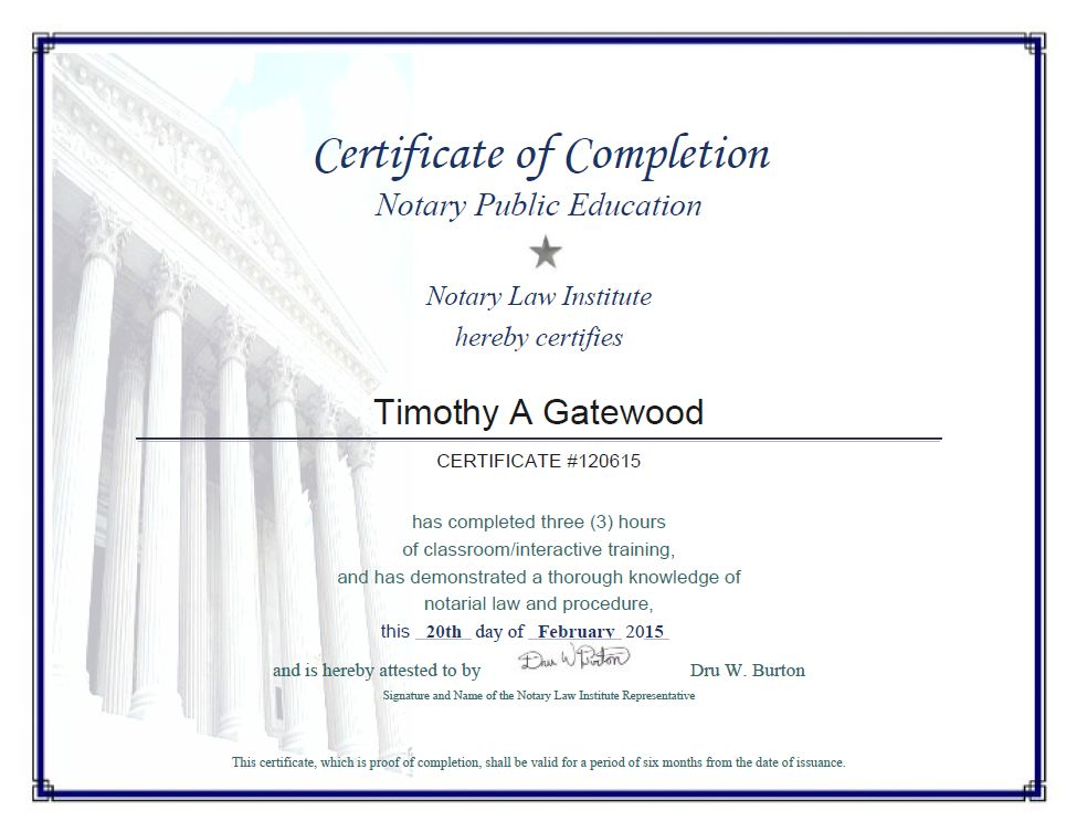 Certificate of Completion - Notary Public Education